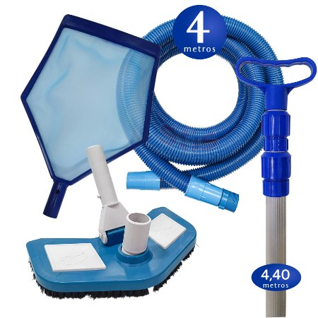 Kit Limpeza Manutenção para Piscinas Alvenaria Fibra Vinil - 4 M
