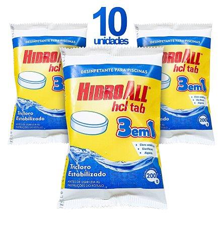 PASTILHA DE CLORO - HCL TAB 3 EM 1 - HIDROALL - 200 G - 10 UNIDADES