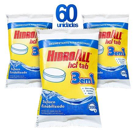 PASTILHA DE CLORO - HCL TAB 3 EM 1 - HIDROALL - 200 G - 60 UNIDADES