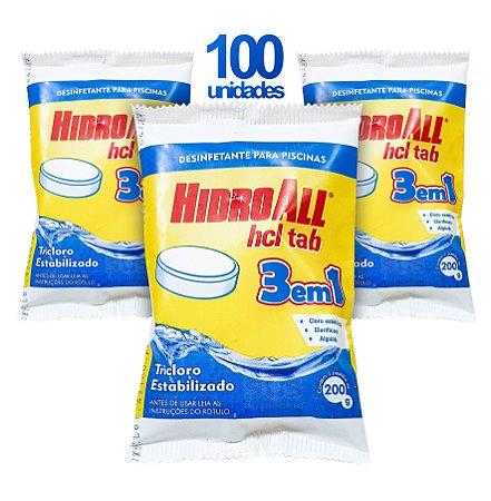 PASTILHA DE CLORO - HCL TAB 3 EM 1 - HIDROALL - 200 G - 100 UNIDADES