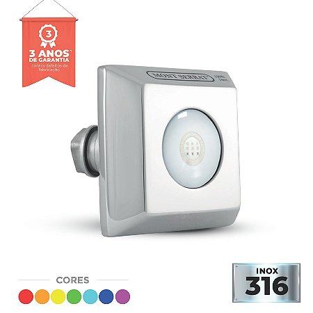 Refletor Inox - Super Led - SL-20 - 10w RGB Encaixe Quad - Alvenaria