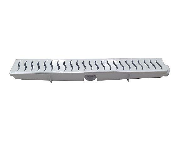Ralo Linear Seca Piso 6x50 Cm Continuo Grelha Com Coletor - Branca