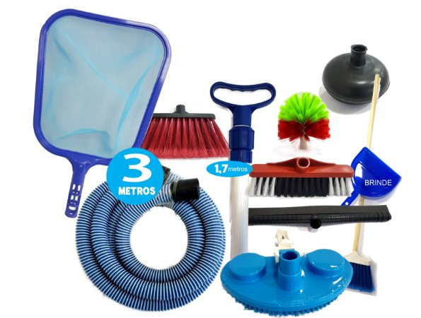 Kit Limpeza Piscina Inflável Intex Sodra + Kit Vassouras