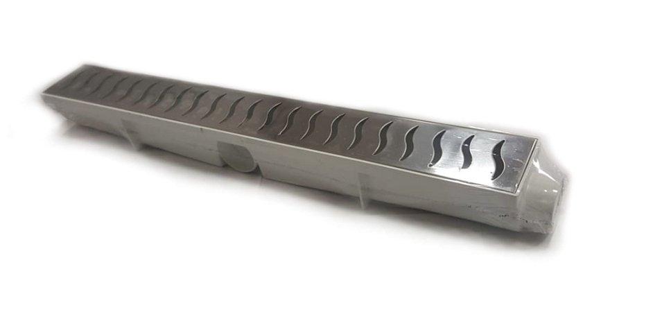Ralo Linear Seca Piso 6x50 Cm Continuo Grelha em Inox C/ Coletor