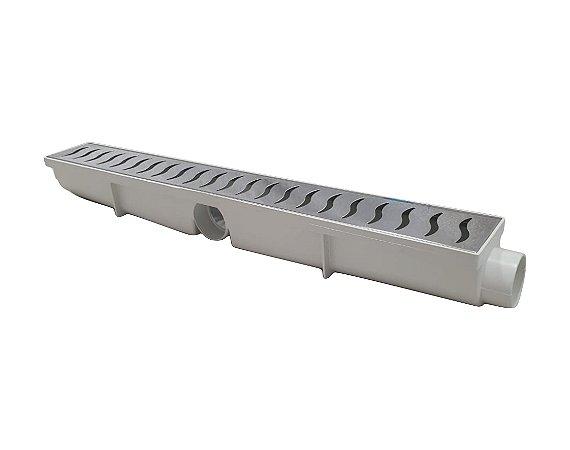 Ralo Linear Seca Agua e Piso 6x50 Cm Continuo Grelha em Inox C/ Coletor Branco