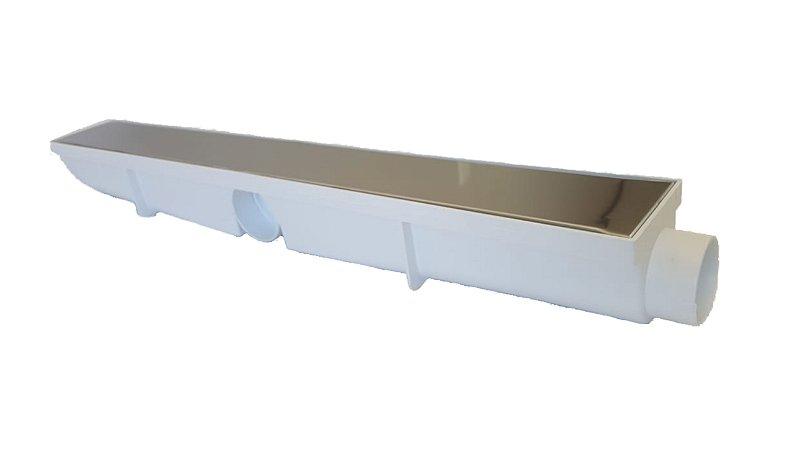 Ralo Linear Seca Piso 6x50 Cm Continuo Grelha Lisa em Inox C/ Coletor