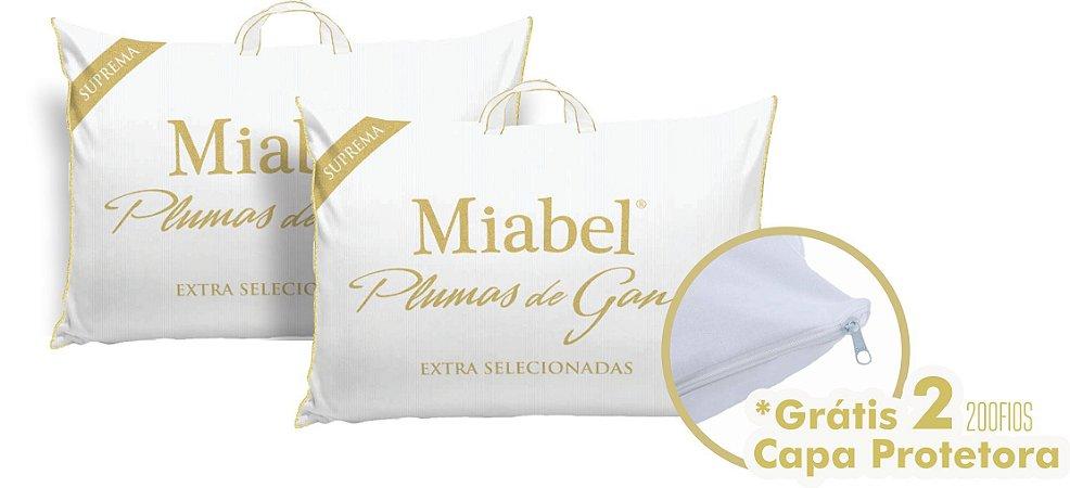 Kit casal 2 Travesseiro Miabel Suprema 100% Plumas De Ganso com 2 fronha  *Extra Selecionado*  50x70 cm