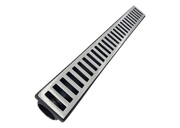 Ralo Linear Seca Piso 6x50 Cm Continuo Grelha em Aluminio C/ Coletor - Preta