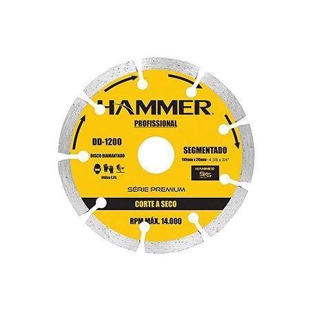 DISCO PROFISSIONAL DIAMANTADO  HAMMER 110 SEGMENTADO . SECO 1200