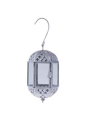 Lanterna Decorativa Marroquina de Metal e Vidro 12cmx8cm Vênus Victrix