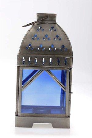 Lanterna Decorativa Marroquina de Metal e Vidro 24cmx12cmx12cm Vênus Victrix