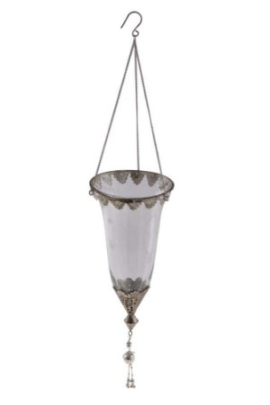 Suporte Pendente para Vela Vidro e Metal 30cmx15cm Vênus Victrix