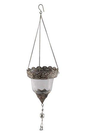 Suporte Pendente para Vela de Vidro e Metal 17cmx13cm Vênus Victrix