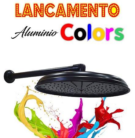 Chuveirão - Ducha Cascata - Alumínio Colors - Preta  - 15 Polegadas