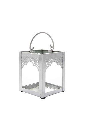 Lanterna Decorativa Indiana de Metal e Vidro 10cmx8cm Vênus Victrix