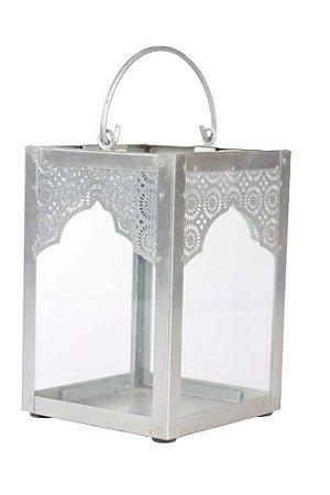 Lanterna Decorativa Indiana de Metal e Vidro 16cmx11cm Vênus Victrix
