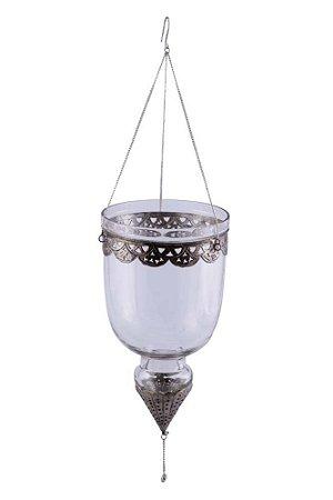 Suporte Pendente para Vela Vidro e Metal 31cmx17cm Vênus Victrix