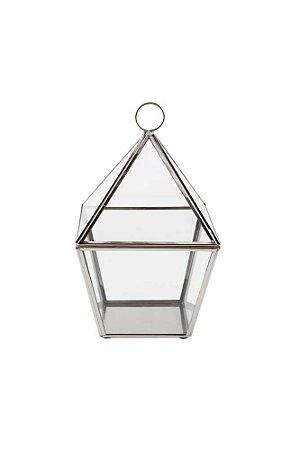Lanterna Decorativa de Metal e Vidro 23,5cmx13cmx9cm Vênus Victrix