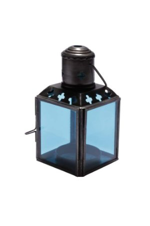 Lanterna Decorativa de Vidro e Metal 11cmx6cmx6cm Vênus Victrix