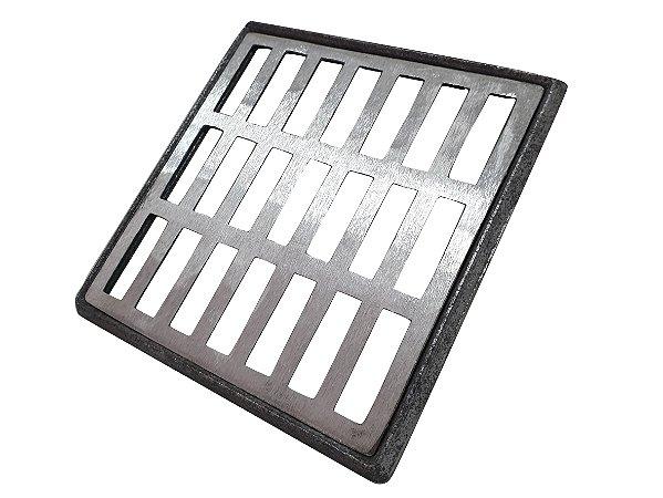 Conjunto Grelha e Porta Grelha Alumínio 20 x 20 cm Reta