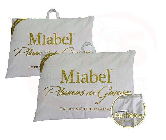 Kit  Travesseiro Casal Miabel Suprema 100% Plumas De Ganso 50x70 cm + Fronhas 200 fios