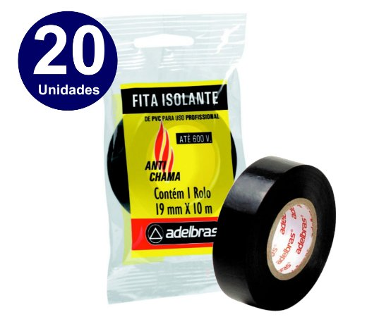 20 UNIDADES  - FITA ISOLANTE ADELBRAS 10 METROS X19MM