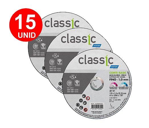 15 UNID DISCO de CORTE Para INOX NORTON BASIC 4 1/2X1,0X7/8