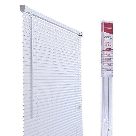 PERSIANA HORIZONTAL PVC BRANCA L120CM X A160CM X 25MM