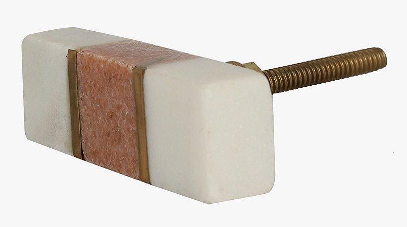 Puxador bloco mármore branco e rosa, detalhe dourado