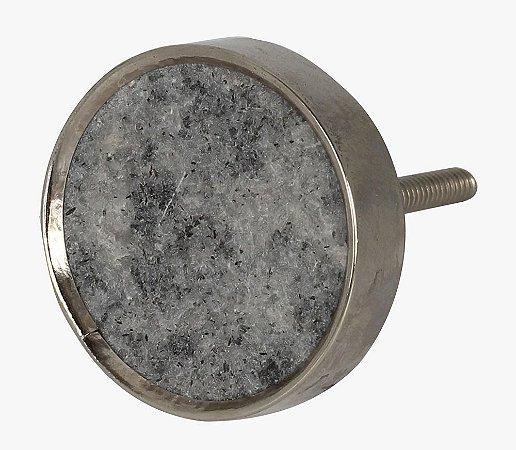 Puxador redondo mármore cinza metal cromado