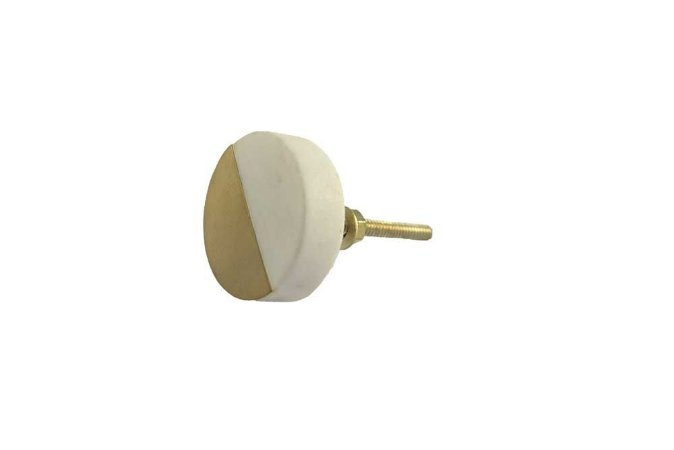 Puxador redondo mármore metal dourado
