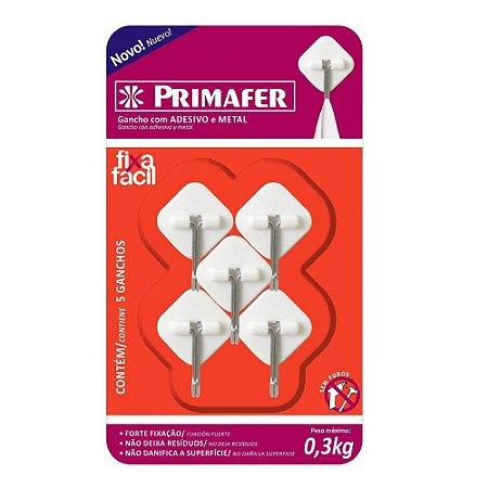 GANCHO ADESIVO PRIMAFER BRANCO PLASTICO/METAL 0,3 KG 5 PEÇA LOSANGO PR2561