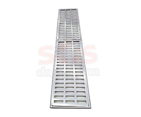 Conjunto Grelha e Porta Grelha Alumínio 20 x 100 cm
