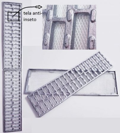 Ralo grelha e porta grelha anti-derrapante tela inseto 15X100