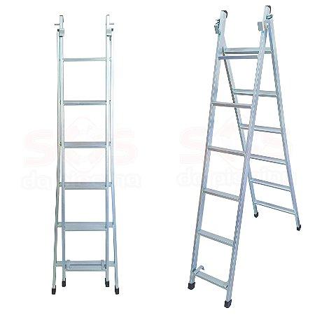Escada 3 em 1 -  6 degraus 1,90 á 3,20 M Zincada 9,5 kg