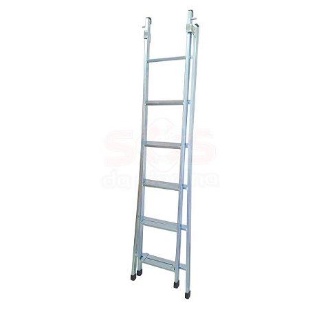 Escada Zincada - 6 Degraus - 3 Em 1 - 1,90 á 3,20 M - Zincada 9,5 KG