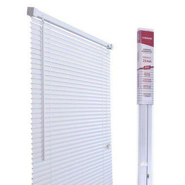 PERSIANA HORIZONTAL PVC CINZA L100CM X A130CM X 25MM