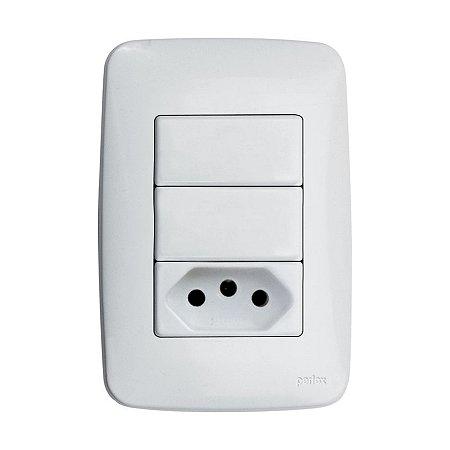 2 Interruptores Simples e 1 Tomada 2P + T - Embutir - Perlex