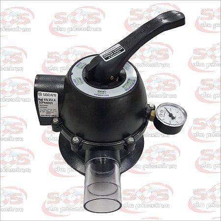 Válvula Seletora - 6 Vias - Sibrape - 1 1/2 em ABS - Com Manômetro