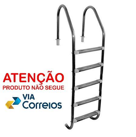 Escada para Piscina - Aço Inox - 5 Degraus em Aço Inox