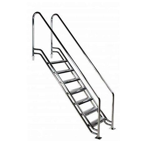 Escada para Piscina - Paris para Obesos e Fisioterápicos - 1,40 M - Aço Inox 304