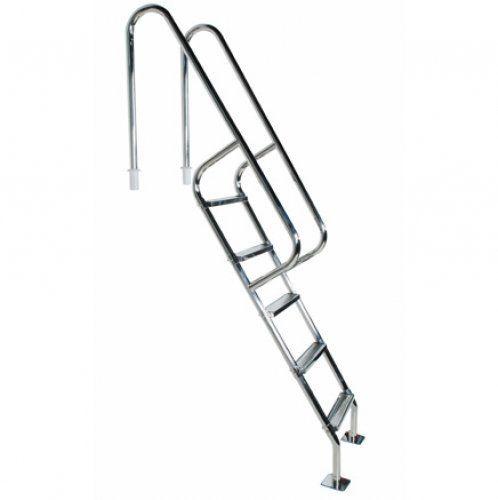 Escada para Piscina - Barcelona - 5 Degraus - 1,40 M - Aço Inox 304