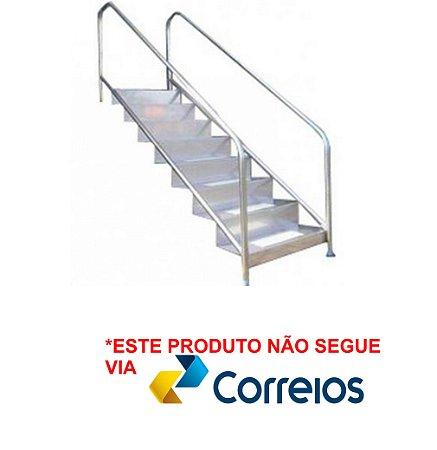 Escada Fisioterápica - Aço Inox 304 - Chapa Dobrada - 8 Degraus para Piscina