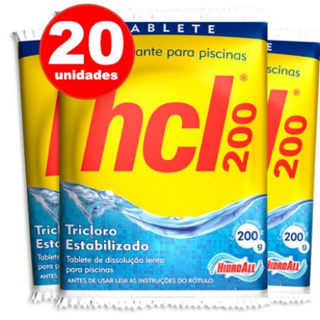 Pastilha de Cloro - HCL TAB - Tricloro Estabilizado - 200 g - 20 Unidades