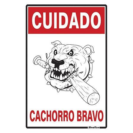 PLACA DE SINALIZAÇÃO POLIESTIRENO - CUIDADO CACHORRO BRAVO