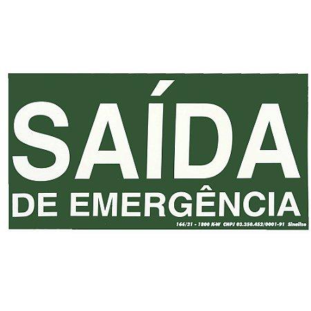 PLACA DE SINALIZAÇÃO PVC - SAÍDA EMERGÊNCIA FLUORESCENTE