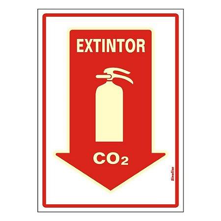 PLACA DE SINALIZAÇÃO PVC 20x30 - EXTINTOR CO2 - FLUORESCENTE