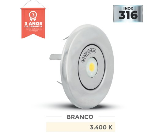 REFLETOR PARA PISCINA REDONDO MONO - 10 W NICHO 3.400K BRANCO