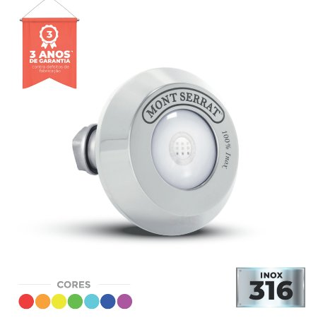 Refletor em Inox - Super Led -SL 20 - 10 w RGB - Encaixe para Alvenaria