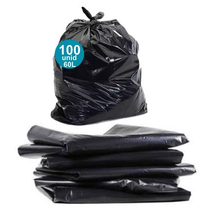 Saco de lixo  60 litros - reforçado - 100 unidades